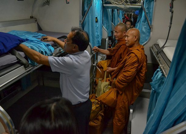 Monks on a Train, Bangkok to Malaysia by Train Padang Besar Penang Butterworth