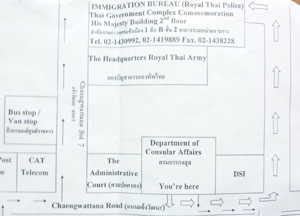 Directions and Map for Touist VISA renewal in bangkok immigration office