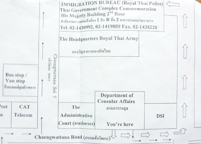 Tourist VISA Extension In Bangkok Immigration Office Thai VISA - Us embassy bangkok map