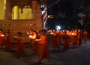 Monks Holding Candles, Vientiane Riverside Night Market Area, Saturday Night
