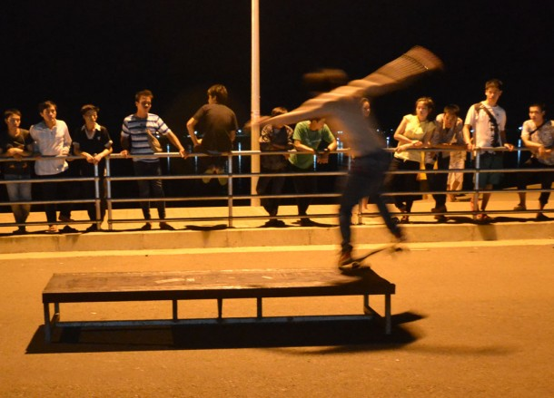Lads Skateboarding, Vientiane Riverside Night Market Area, Saturday Night