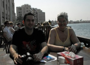With Mum at Dubai Creek, Two Day Dubai Stopover, Emirates