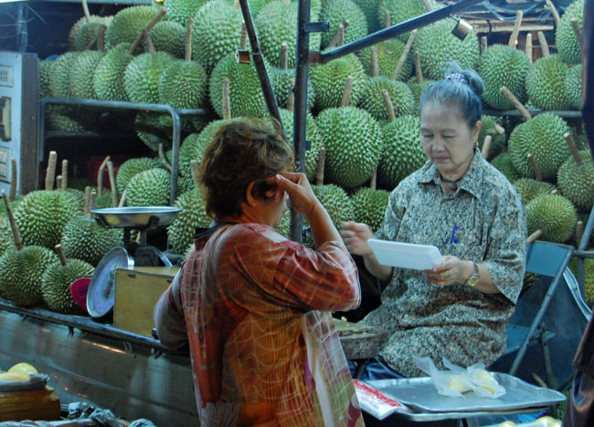 Durian Trade in Chinatown, Sweet Thai Desserts in Thailand, Southeast Asia