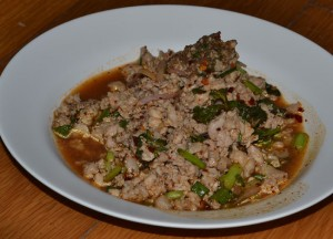 Laab Moo, Spicy Pork Salad, Top 10 Lao Food, Eating in Laos, Southeast Asia