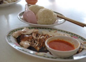 Red Chilli Dip, Hainanese Chicken Rice Singapore vs Khao Man Gai Thailand