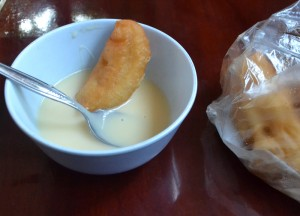 Thai Donut Condensed Milk, Sweet Thai Desserts in Thailand, Southeast Asia