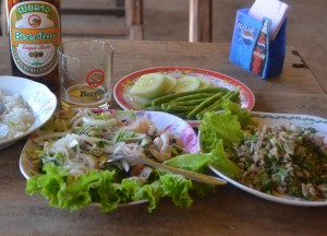 Spicy Salads Riverside, Top 10 Lao Food, Eating in Laos, Southeast Asia