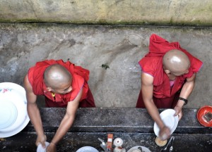 Monks Cleaning Dishes, Rumtek Monastery, Gangtok Tour, Sikkim Himalayas, India