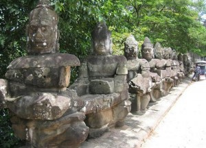 Bridge with Statues, Bangkok to Siem Reap, Angkor Wat Tour, Cambodia