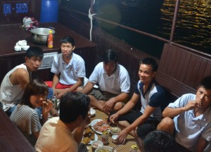 Crew Members Eating, Best Halong Bay Overnight Cruise Tours from Hanoi