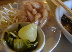 Beansprouts, Cap Moo, Lime and Pickle. Northern Thai Food, Lanna Food, Eating in North Thailand, Asia