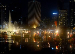City Skyline from Benjakiti Park, Loy Krathong in Bangkok, Sukhumvit Area