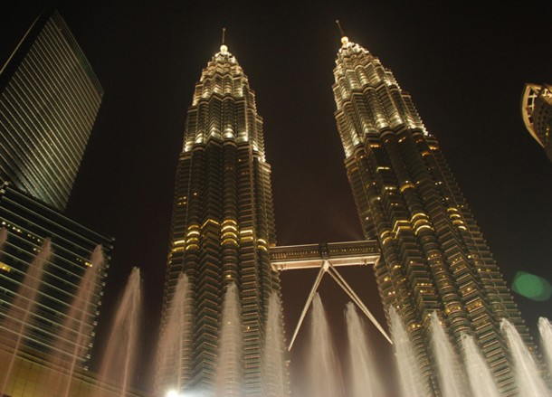 Petronas Towers at Night, Thai VISA Runs from Bangkok, Thailand