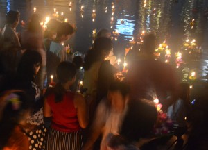 Local Crowds at Benjakiti Park, Loy Krathong in Bangkok, Sukhumvit Area