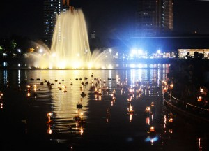 Central Fountain at Benjakiti Park, Loy Krathong in Bangkok, Sukhumvit Area
