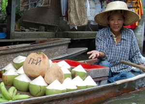 Coconuts Sold on RIver, Sweet Thai Desserts in Thailand, Southeast Asia