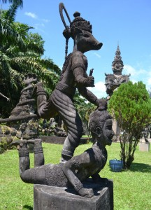 Pig Riding Man at Buddha Park, Vientiane City Tour, Things to do in Laos