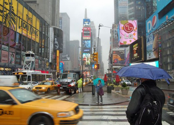 Raining, Times Square NYC, Driving Road Trip in America, New York State