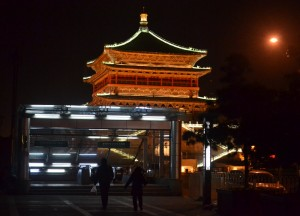 Subway Entrance, Zhonglou Station, Travel in City Centre of Xian China