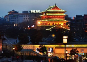 Drum Tower from Bell Tower, Top Attractions in Xian China (Shaanxi)