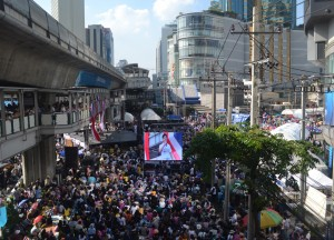 Asoke Stage and Big Screen, Simplifying Bangkok Protests on Sukhumvit Road