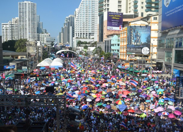 Protest Site on Asoke Road, Simplifying Bangkok Protests on Sukhumvit Road