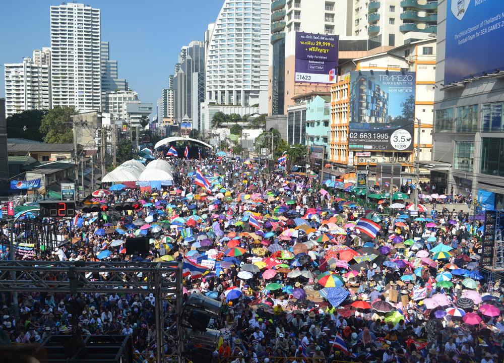 Bangkok Protests On Sukhumvit Road And Asoke Interchange