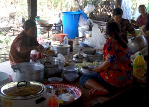 Elders Preparing Food, Buddhist Monk Ordination in Thailand, Nang Rong, Buriram