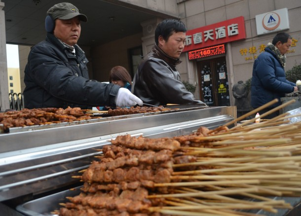 Chinese Kebab Stand, Top Ten Chinese Street Food in Xian China