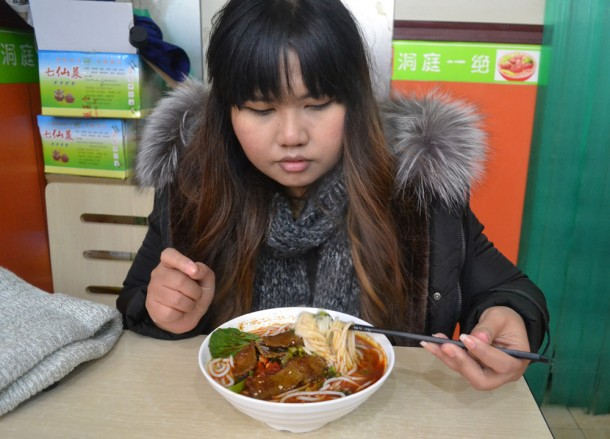 Fanfan Eating Noodles, Xian Food and Eating in Xian, Shaanxi, China