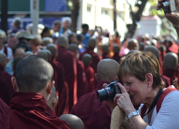 Intrusive Tourists Photographing Monks, Best mandalay day tour by taxi