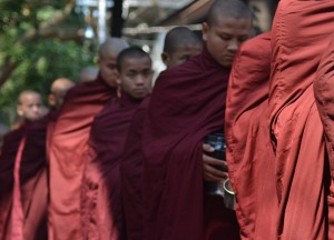 Monks Queuing at Mahagandayon Monastery, Best mandalay day tour by taxi