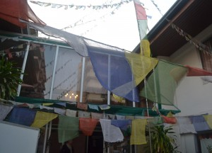 Entrance with Prayer Flags, Himalaya Restaurant in Bangkok, Nepalese Food