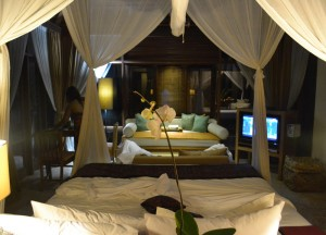 Bed at Night Time, Komaneka Tanggayuda Ubud Review Pool Villas