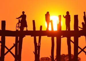 Sun Setting at U Bein Bridge, Best mandalay day tour by taxi