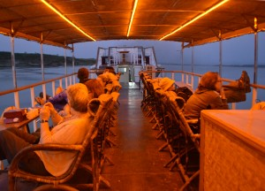 Lounging on Deck, Bagan to Mandalay by Boat, Irrawaddy River Cruise