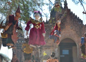 Burmese Puppets Outside Temple, Two Days in Bagan and Mount Popa, Myanmar