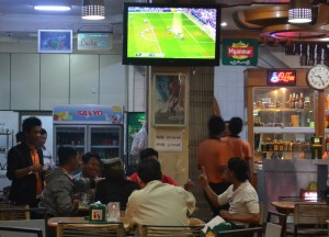 Locals Watching Football, Super 81 Restaurant Mandalay, Best Restaurants Myanmar