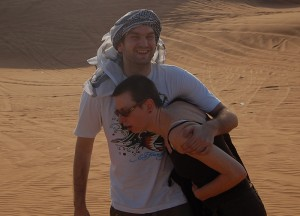 Being Sick after Dune Bashing, Two Day Dubai Stopover, Emirates (UAE)