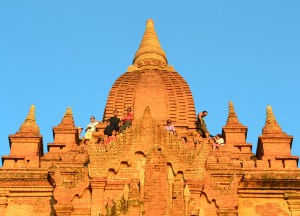 Tourists on Shwe San Daw Pagoda, Two Days in Bagan and Mount Popa, Myanmar