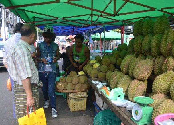 Chinese Durian Traders Near 19th Street Food in Yangon Chinatown