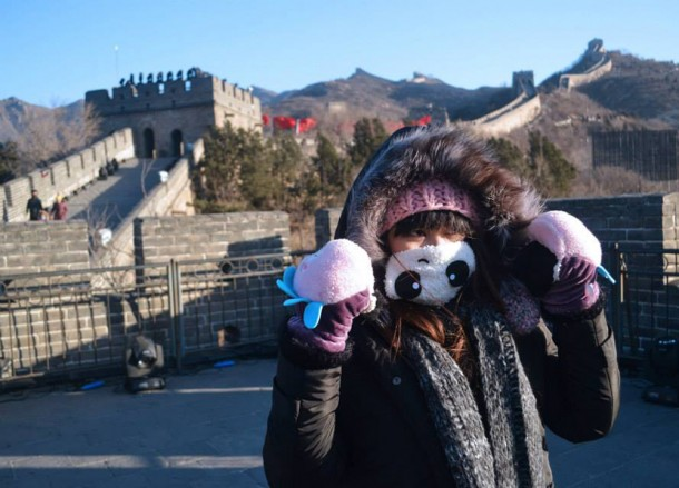 Freezing Temperatures and Warm Clothes, Great Wall of China in Winter, Beijing Badaling