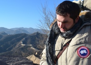 Allan Wilson Looking Miserable on the Great Wall of China in Winter, Beijing Badaling