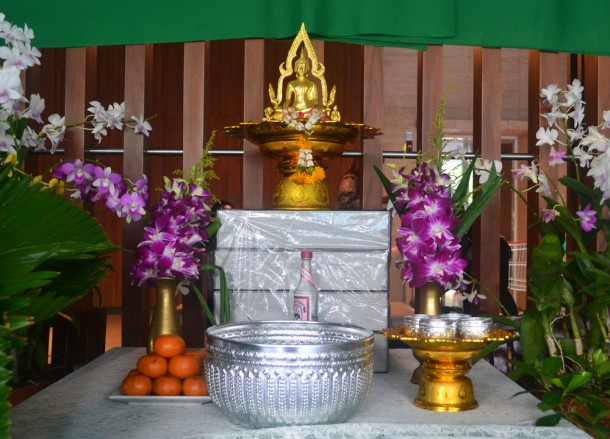 Altar for Buddhist Ceremonies, Song Nam Phra, Songkran Temple Ceremony