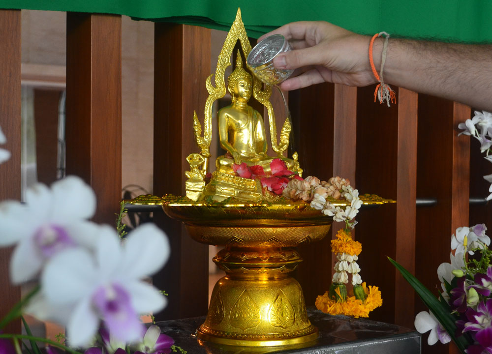 Pouring Water on Buddha Statue, Songkran Temple Ceremony, Song Nam Phra