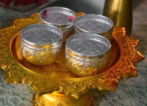 Small Metal Water Cups, Song Nam Phra, Songkran Temple Ceremony