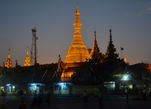 Lit Up at Night Time at Sule Pagoda in Yangon Downtown, Myanmar