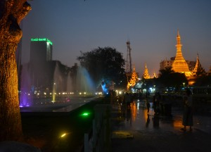 Sule Pagoda from Independence Monument, Sule Pagoda in Yangon Downtown, Myanmar