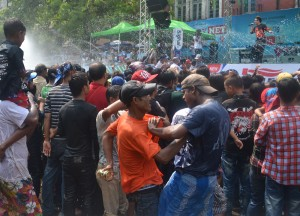 Crowds Partying at Main Stage, Thingyan Water Festival in Yangon, Myanmar Songkran