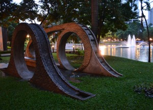 Evening Sunset at Benjasiri Park in Sukhumvit Queens Park, Bangkok